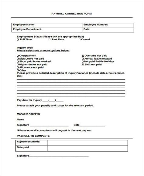 payroll correction form template sle payroll correction forms 7 free documents in