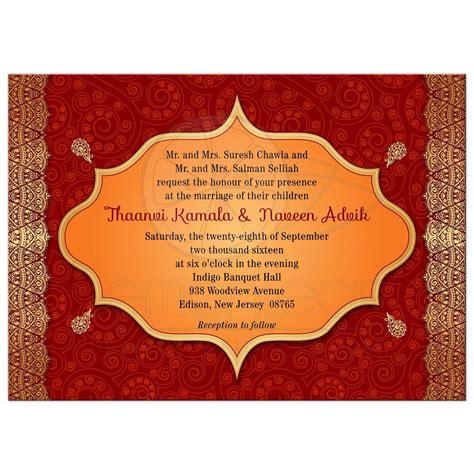 indian wedding invitations labels wedding invitation crimson indian paisley golden gilded edge