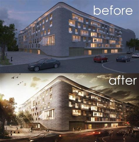 adobe photoshop architecture tutorial architectural visualisation post production before ikke