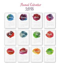 Calendã 2018 Vetor Calendar 2018 Watercolor Design Vector Free