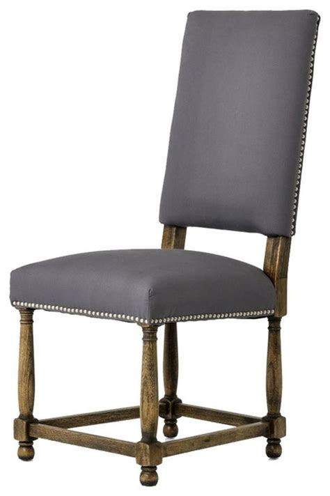 country gray linen upholstered dining chair