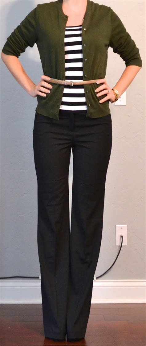outfit posts occasion work black pants striped shirt