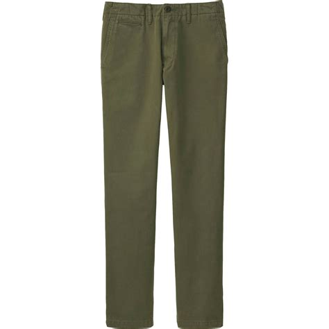 uniqlo s vintage regular fit chino flat front in green for olive lyst