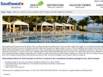 The View 20 Day Vacation Giveaway - southwest vacations ft myers sweepstakes