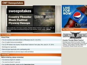 Country Music Sweepstakes - cmt country thunder music festival flyaway sweepstakes sweepstakes fanatics