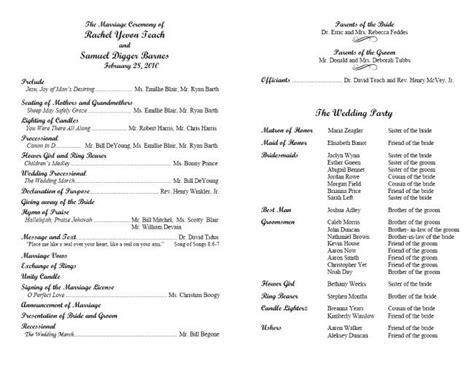 Wedding Ceremony Format by Christian Wedding Programs Wording Exles