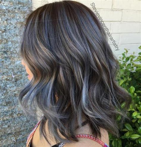 grey highlights in dark hair 40 ideas of gray and silver highlights on brown hair