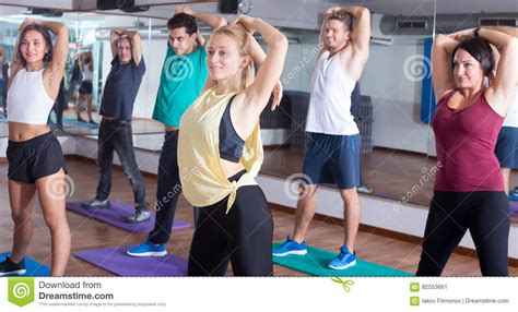 zumba steps download cheerful people learning zumba steps stock photo image