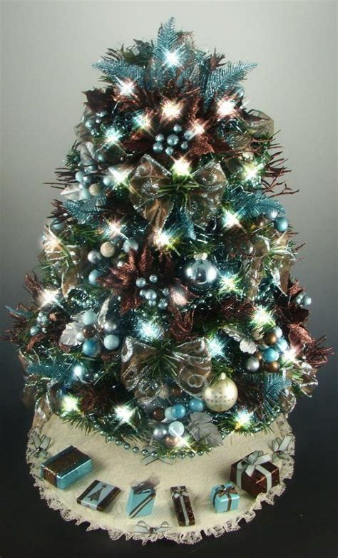 tabletop christmas tree brown aqua turquoise  inches  clear mini lights tree
