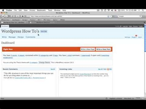 tutorial admin wordpress tutorial of wordpress admin dashboard youtube