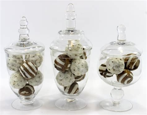 Decorative Filled Jars set of three 3 mini clear glass apothecary jars filled