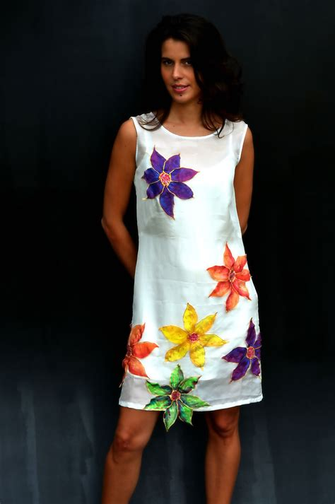 Mano Dress margherite dress painted silk fashion
