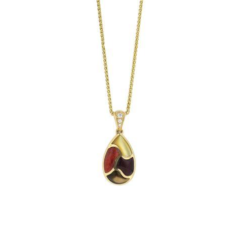 14 kt yellow gold pendant with inlay and diamonds kabana