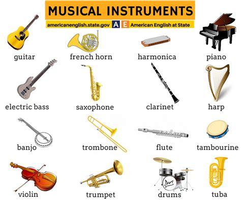 7 Instruments Id To Learn by Musical Instruments Vocabulary Language Esl