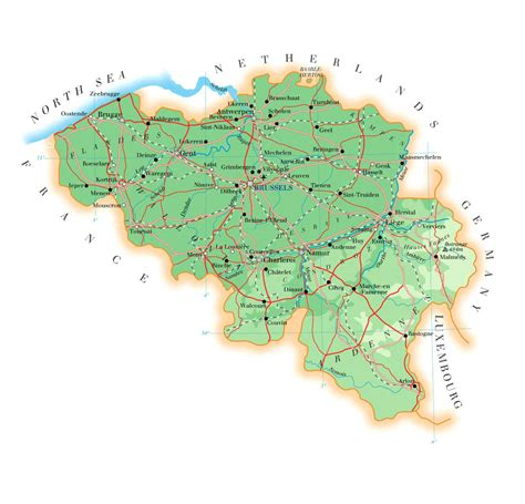 map of belgium with cities detailed physical map of belgium with all roads cities