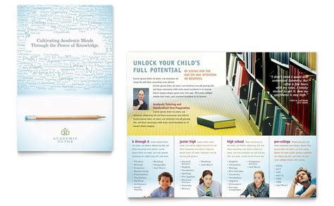 school brochures templates academic tutor school brochure template word publisher
