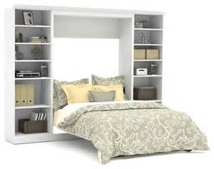 109 in wall bed with 25 in storage unit in white