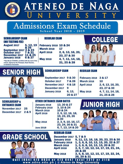 Ateneo Mba Tuition by Entrance Schedules For Sy2018 2019 Grade School To
