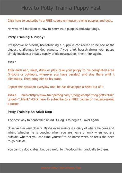 how to poty a how to potty a puppy fast