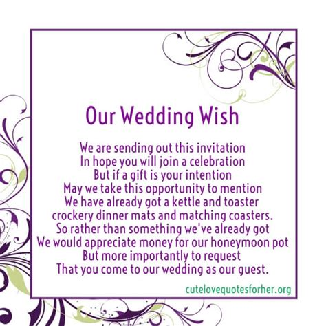 wedding invitation poems for money gifts honeymoon poems to and to asking for money