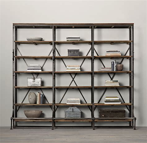 library bookcase wall unit restoration hardware french library shelving natural antiqued iron estante