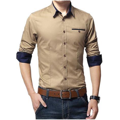 Kemeja Navy Style baju kemeja pria slim fit lengan panjang shirt