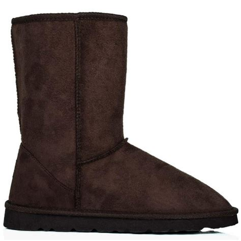 buy midy ella flat winter calf boots brown suede style