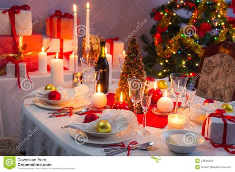red and white christmas table white and red decorations on the christmas table stock