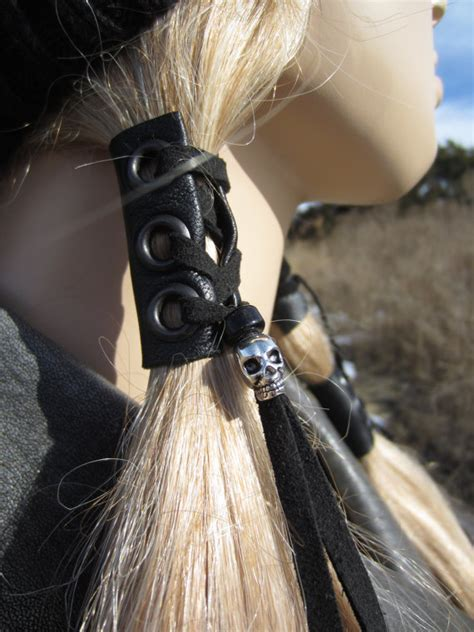 how to make a leather ponytail holder ehow black leather hair wrap skull beaded tie ponytail holder biker