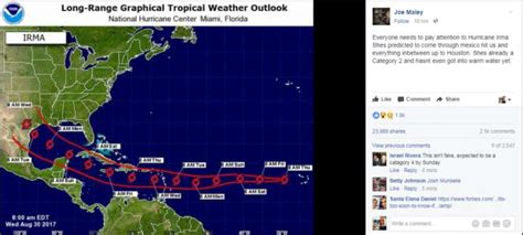hurricane irma hit date don t fall for post on hurricane irma