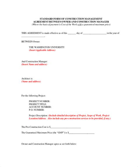 construction management agreement sle construction agreement form 6 documents in pdf word