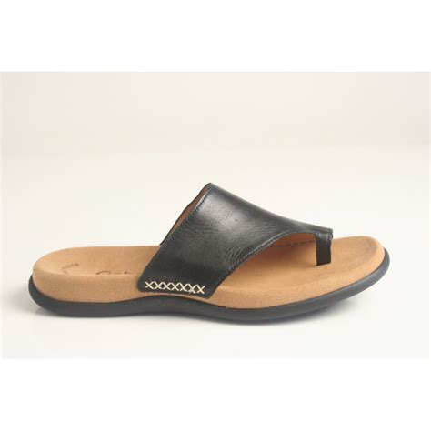 with sandals gabor gabor style quot lanzarote quot black leather toe post slip