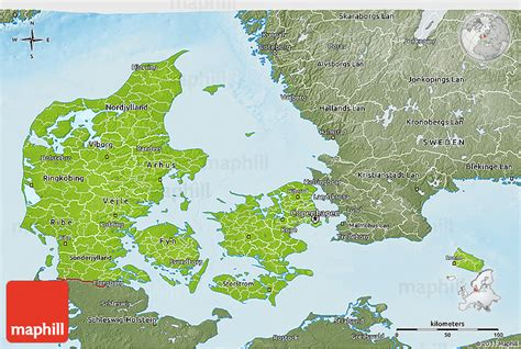 physical map of denmark physical 3d map of denmark semi desaturated land only
