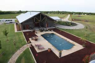 Building A Pool House by A Complete Metal Building Home With A Pool And A Stable
