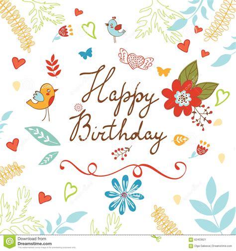 auguri con i fiori scheda di buon compleanno con i fiori illustrazione