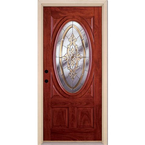Fiberglass Exterior Doors Home Depot Feather River Doors 37 5 In X 81 625 In Silverdale Zinc 3 4 Oval Lite Stained Cherry Mahogany