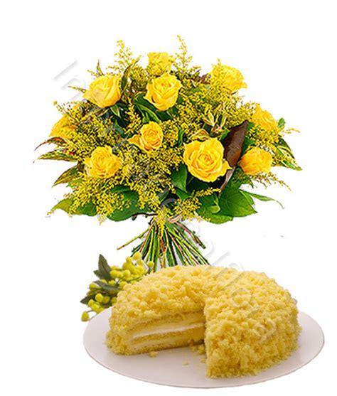 fiore mimosa immagini torta mimosa con bouquet di gialle e mimosa