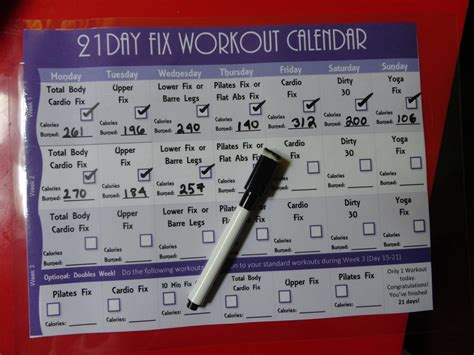 21 Day Fix Calendar 21 Day Fix Workout Routine How Many Calories Do I Burn