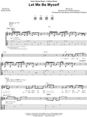 Let Me Be Myself 3 Doors by 3 Doors Quot Let Me Be Myself Quot Guitar Tab Print