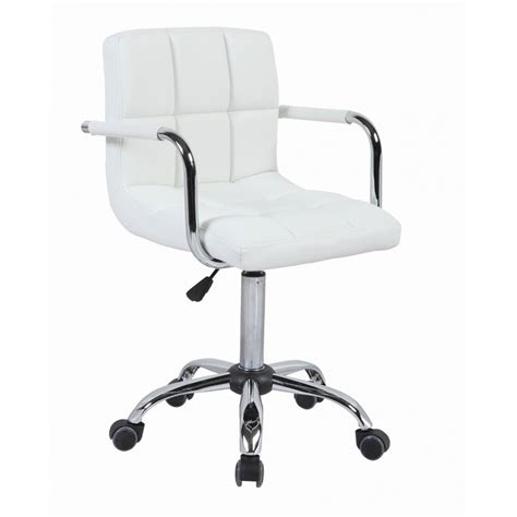White Cuban Faux Leather Swivel Office Chair Swivel Office Chairs