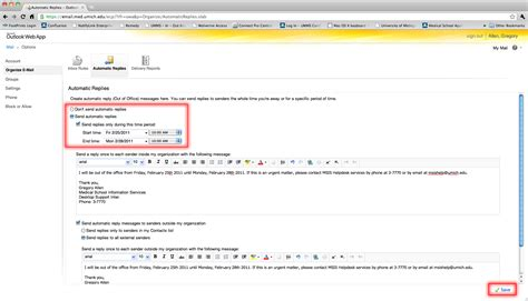How To Put An Out Of Office Message In Outlook by Outlook Out Of Office Messages Knowledgebase