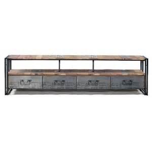 grand meuble tv industriel 4 tiroirs samudra