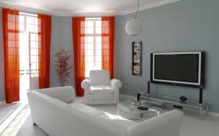 Design simple white grey with red curtain living room classy design