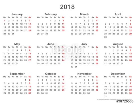 Qatar Calend 2018 Quot 2018 Calendar Simple Mondays Format Quot Stock