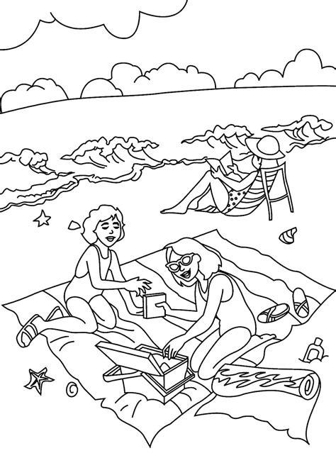Gambar mewarna - Berkelah di pantai - Gambar Mewarna