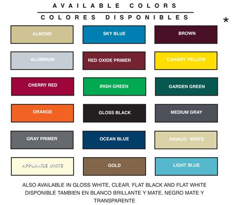 custom car paint colors chart