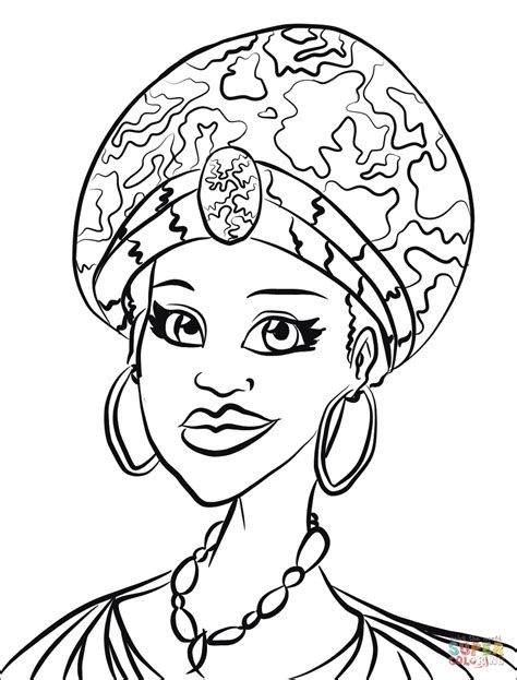 africa coloring pages portrait coloring page free printable