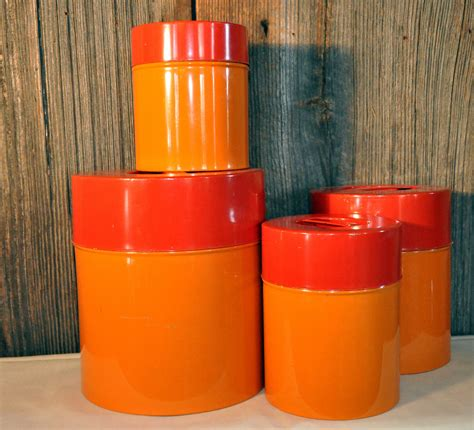 orange kitchen canisters mid century modern orange kitchen canisters