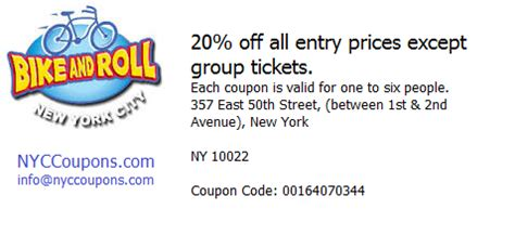 printable restaurant coupons new york nyc coupons printable nyccoupons com bike and roll new