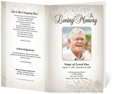 Memorial Brochure Template ceasar preprinted title letter single fold program funeral
